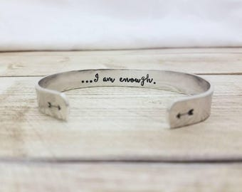 I Am Enough Bracelet - Secret Message - Hidden Message Cuff - Inspirational Gift