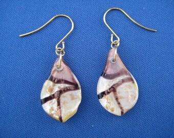 Foil Glass Teardrop Earrings