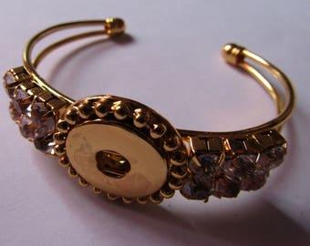 gold rhinestone bracelet for snap 18mm / 20mm diameter