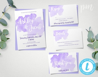 Watercolor Lavender Wedding Invitation Template Set, Purple Watercolor Invitations, Printable Invitation, Instant Download, Easy to Edit