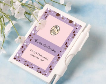 50-200 Personalized Notebook w/ Pen and Plastic Cover - Baptism Religious Wedding Party Favors