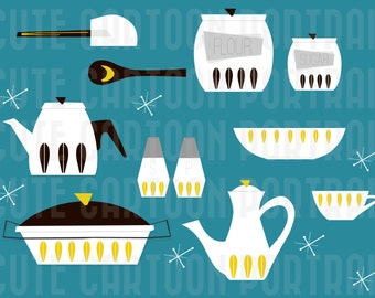 Instant Download - Retro Kitchen Set - Clip Art Collage Sheet - Catherine Holm Yellow Collection