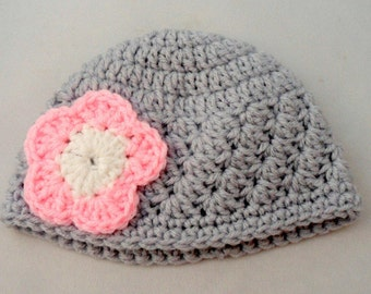 Gray Baby Hat, Pink Flower Hat, Toddler Girl Hat, Baby Cap, Infant Crochet Hat, Blanket Stitch Hat, Etsy Baby Hats, Posie Hat, Baby Item