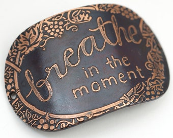 2 hole oval etched copper bracelet component, breathe in the moment, curved link, 2 inches x 1 1/4 inches long