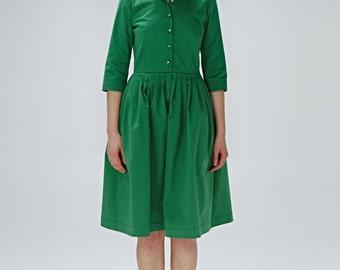 Vert de demoiselle d'honneur robe années 1950 vert vert plissé robe Fit et robe de mariée vert flare invitée de mariage fait à la main robe