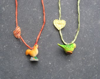 Necklace for Kids and Moms with little plastik chicken/ budgie