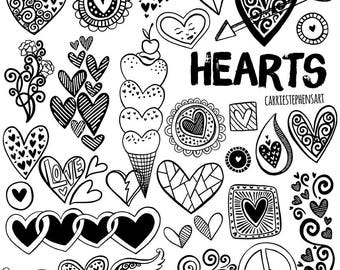 Line Heart Border ClipArt, Heart Digital Stamps, Printable Border PNG, Valentine Heart Graphic Download, Line Art Doodle, Collage Stencil