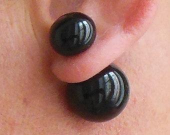 Boucles d'oreille doubles - perles noires - boucles avant arrière - boucles recto verso