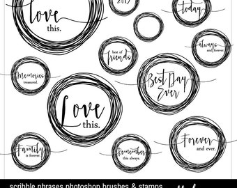 Instant Download - Photoshop Brushes & Stamps - Family, Love and Memories and more- Scribble Phrases