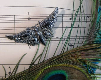 Butterfly Brooch, Filigreed and Textured Metal, Accented by Black Art Glass, Art Nouveau Style, Vintage, Unsigned, Silver Tone Metal, Pretty