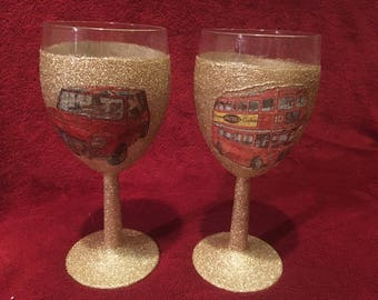 Pair of London Themed Wine Glasses