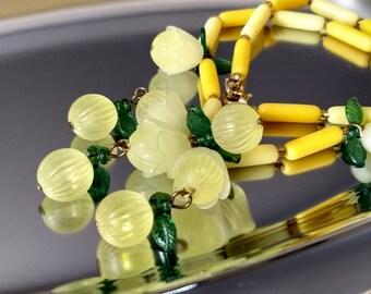 Cha Cha Vintage Necklace Flower Power Carmen Miranda Yellow Bakelite Era Statement Pop Art Modernist Bold Charms Fun Fruit Salad Unusual