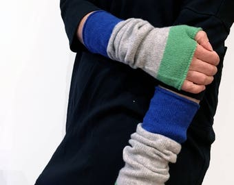 Lambswool Machine Knitted Arm Warmers in Green, Grey and Blue