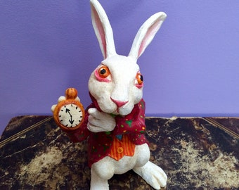 Collectible figurine, Alice white rabbit, painted by hand, limited edition.