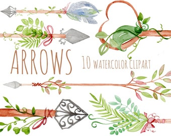 Buy 3 for 9 USD - Clipart hand painted watercolor arrows, tribal arrows digital clipart, diy elements, cards, invitationsrt, PNG