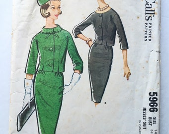 1960s Misses' Suit Pattern - Vintage McCall's Pattern - 1960s McCall's Misses' Suit Pattern #5966 - Size 14 Bust 34 - 1960s Women's Fashion