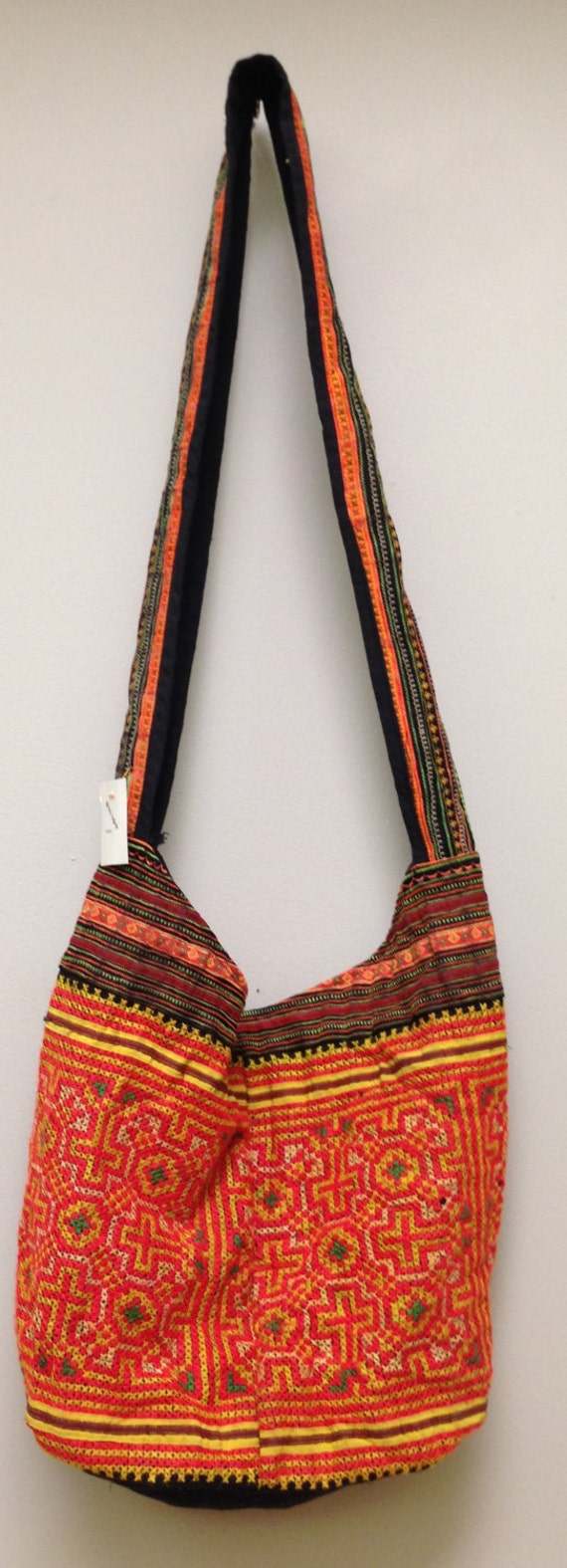 Chinese Bag Hmong Embroidered Purse Hill Tribe Handmade Shoulder Bag Purse Hand Woven Colorful Gift for Her One of Kind Tribal