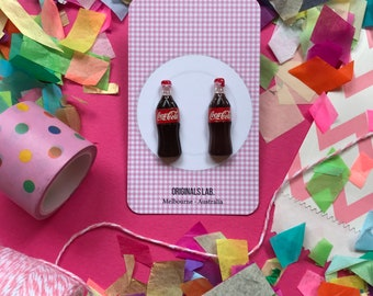 Cola Bottle Earrings fixed to Surgical Stainless Steel Studs