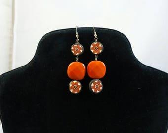Orange, black and rust earrings