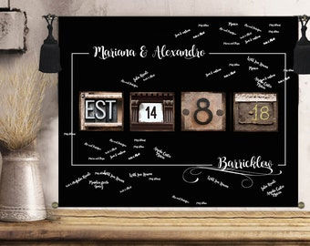 rustic wedding guest book alternative personalized wedding gift for couple wall art print engagement gift anniversary gift wedding signs
