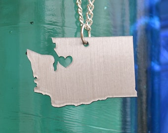 Seattle Washington Love Pendant On 18inch Sterling Silver Chain