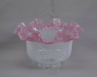 French Antique Large Glass Lamp Shade - Pink & White Nailsea Type Lamp Shade - Victorian Lamp Sahe 2 1/2 Fitter