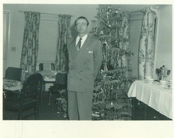 1940s Christmas Dinner Party Educated Man Standing by Tree Glasses 40s Vintage Photograph Black White Photo