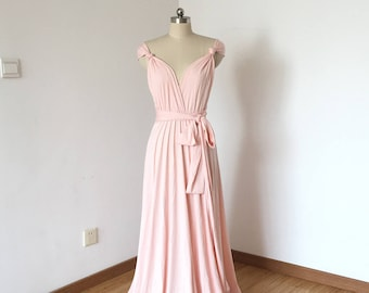 Cap Sleeves Blush Pink Spandex Long Convertible Bridesmaid Dress