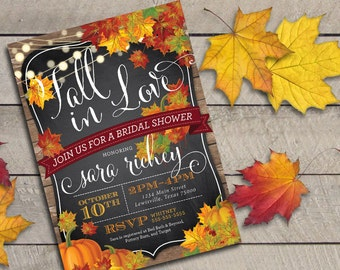 Printable or Printed Fall in Love Bridal Shower Invitation
