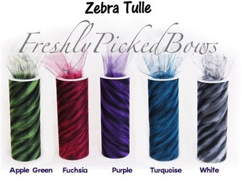 Zebra Animal Tulle 5 3/4 x 10 yards  5 colors to choose from