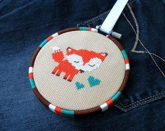 Cute Orange Fox Cross Stitch Pattern PDF – Modern Easy Woodland Nursery Décor – Animal Counted Cross Stitch – Forest Animals Fox Pattern