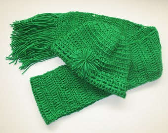 Green Crochet Beanie Hat and Fringed Scarf, Women's Crochet Hat and Scarf Set, Ready to Ship
