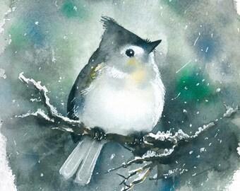 Bird watercolor painting art print