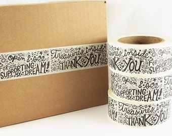 SHOP EXCLUSIVE - Treasures Inside masking tape - handlettered design with jewels - thank you for supporting my dream, open & see - 55 yards
