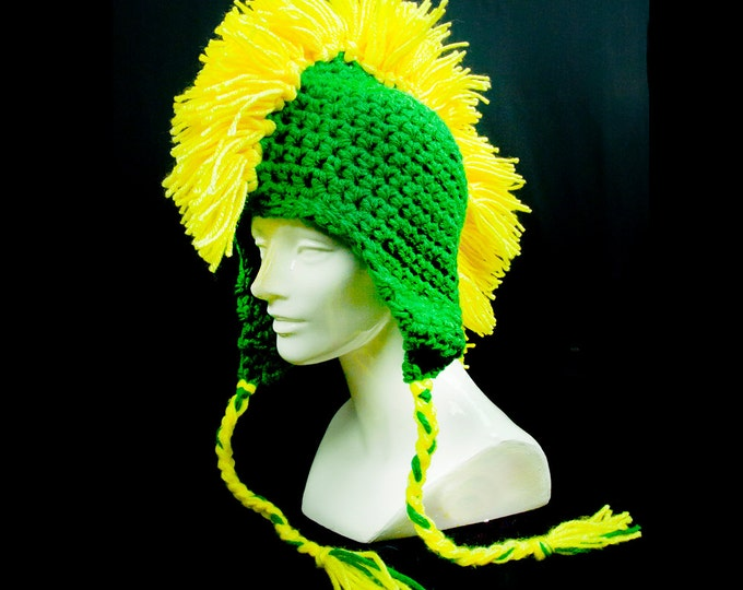 Green and Yellow Gold Mohawk Earflap Hat Wisconsin Greenbay Packers Colors