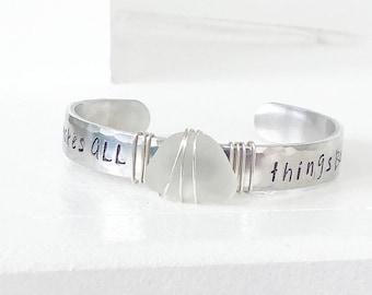 He makes all things beautiful - Broken into Beautiful - genuine beach glass bracelet - silver cuff bracelet - scripture bracelet