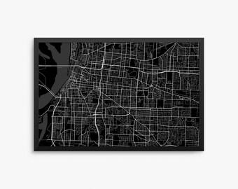 Memphis City Street Map, Memphis Tennessee USA, Modern Art Print, Memphis Office Decor, Memphis Home Decor Idea, Memphis Map, Memphis Poster