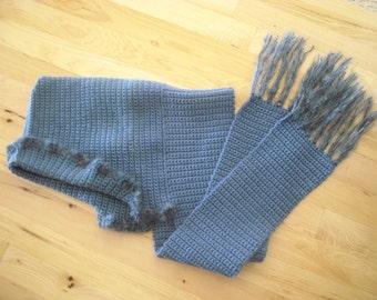 Williamsburg Blue Soft Ruffle Edged Hooded Scarf