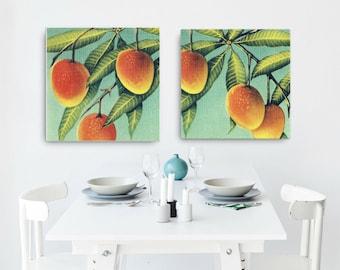 Kitchen Art Canvas, Coastal Kitchen, Mango Art Canvas Marigold Aqua Wall Art Mom Gift Vintage Botanical Art Canvas Kitchen Decor Florida Art