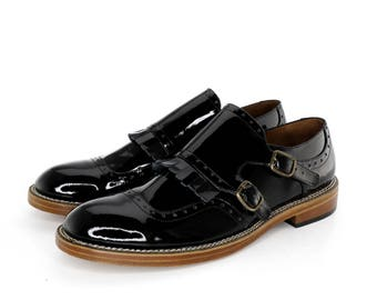 Monk Straps Shoes in Black Patent Leather