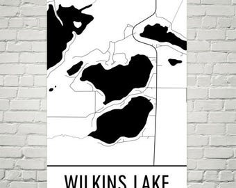 Wilkins Lake Minnesota, Wilkins Lake Map, Minnestota Lakes Map, Lake Map, MN Lake Art, Wilkins Lake Art, Wilkins Lake MN, Minnesota Wall Art