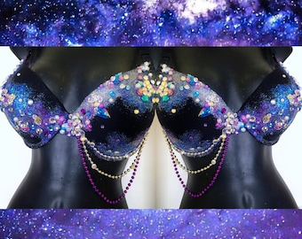 Galaxy Bra: edm, edc, edc outfit, rave bra, rave outfit, costume, universe, stars, sun and moon, raver, festival outfit, plur, kandi