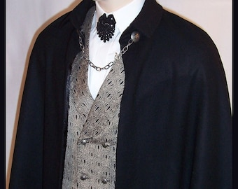 Men's Formal Short Cape Virgin Wool Lined Black Satin Cloak 32 in Butt Length Handmade, S to XXL Lining Red Gold Chain Closure