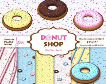 Donut Shop Clipart and Digital Paper Pack | Frosted Donuts, Sprinkles, Bakery Themed | Commercial Use