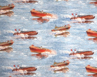 Lively Classic Speedboats Print Pure Cotton Fabric--By the Yard
