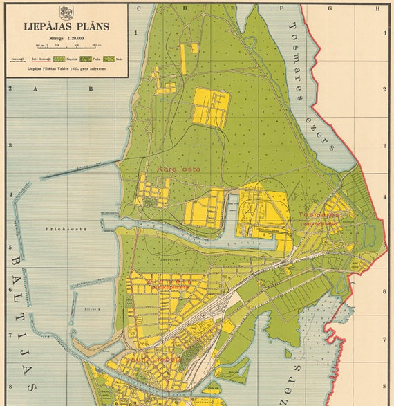 Liepaja Old Map Latvia Old Maps Baltic States Map Liepaja