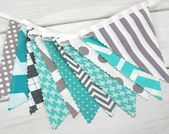 Banner Garland Bunting Baby Nursery Decor Baby Shower Fabric Bunting Nursery Bunting Photography Props Turquoise Teal Gray Gray Chevron
