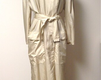 SALE 20% OFF Vintage Claude Montana Oversized Lightweight Trench Coat / Assymetrical / Tan