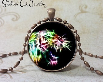 """Growling Tiger Necklace - 1-1/4"""" Circle Pendant or Key Ring - Handmade Wearable Photo Art Jewelry - Nature Art - Tiger in Fractals - Gift"""