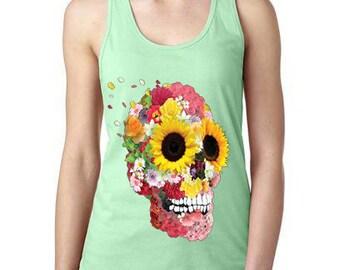 Floral Sunflower Skull Womens Tank Top, Ladies Tank Top, Skull Tank Top, Gifts For Her, Loose Fitting Tank Top, Cute Tank Top